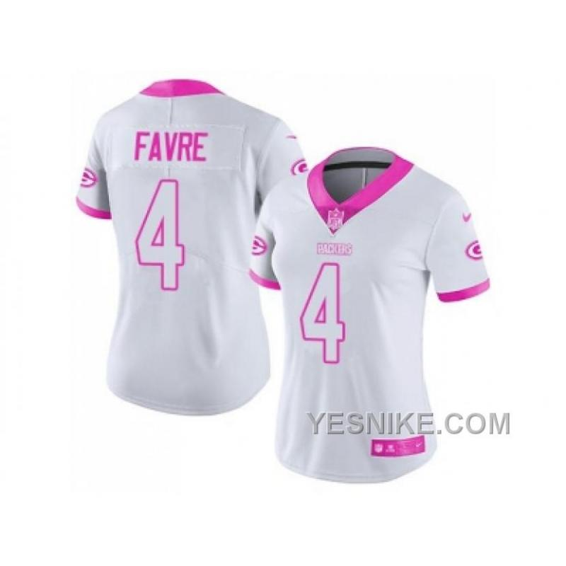 best service f227f 20762 Big Discount ! 66% OFF ! Women's Nike Green Bay Packers #4 Brett Favre  White Pink Stitched NFL Limited Rush Fashion Jersey