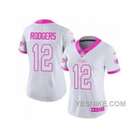 Big Discount ! 66% OFF ! Women's Nike Green Bay Packers #12 Aaron Rodgers White Pink Stitched NFL Limited Rush Fashion Jersey