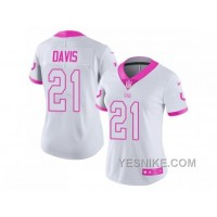 Big Discount ! 66% OFF ! Women's Nike Indianapolis Colts #21 Vontae Davis White Pink Stitched NFL Limited Rush Fashion Jersey