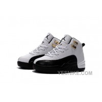 Big Discount! 66% OFF! Air Jordan 12 Taxi White And Black Gold Size US11C To US 3Y