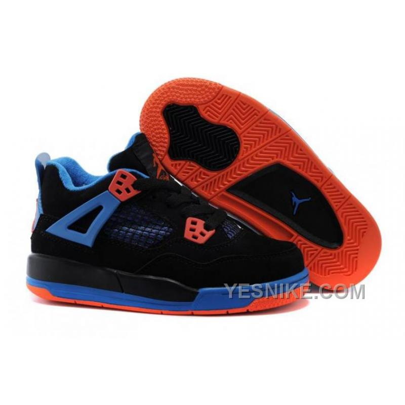 1720f90809c8 Big Discount! 66% OFF! Kids Shoes Jordan 4 IV Black BlueOrange Blaze ...