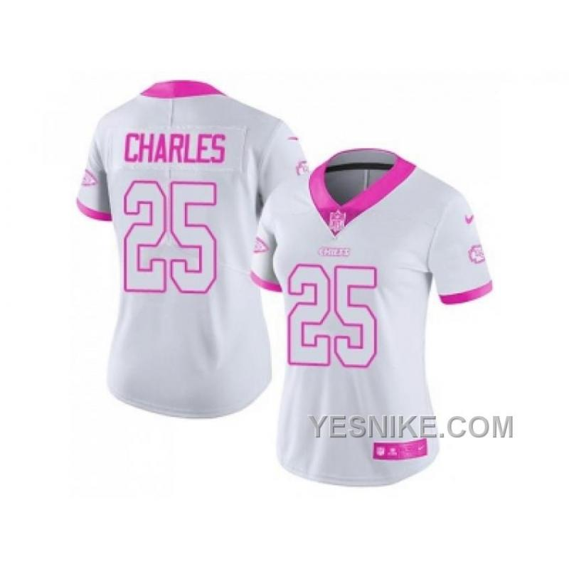 the best attitude 7c5c0 4703a Big Discount ! 66% OFF ! Women's Nike Kansas City Chiefs #25 Jamaal Charles  White Pink Stitched NFL Limited Rush Fashion Jersey