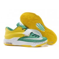 "Big Discount ! 66% OFF! Nike Kevin Durant KD 7 VII ""Draft Day"" Apple Green/Yellow Strike-White For Sale"