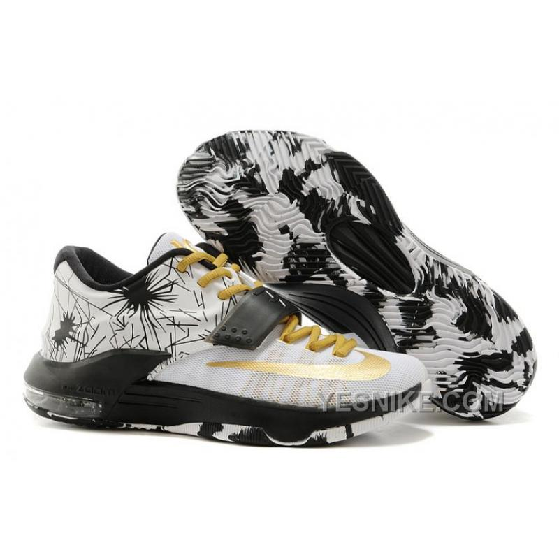 Nike Kevin Durant KD 7 VII Patterns WhiteBlackMetallic Gold For Sale