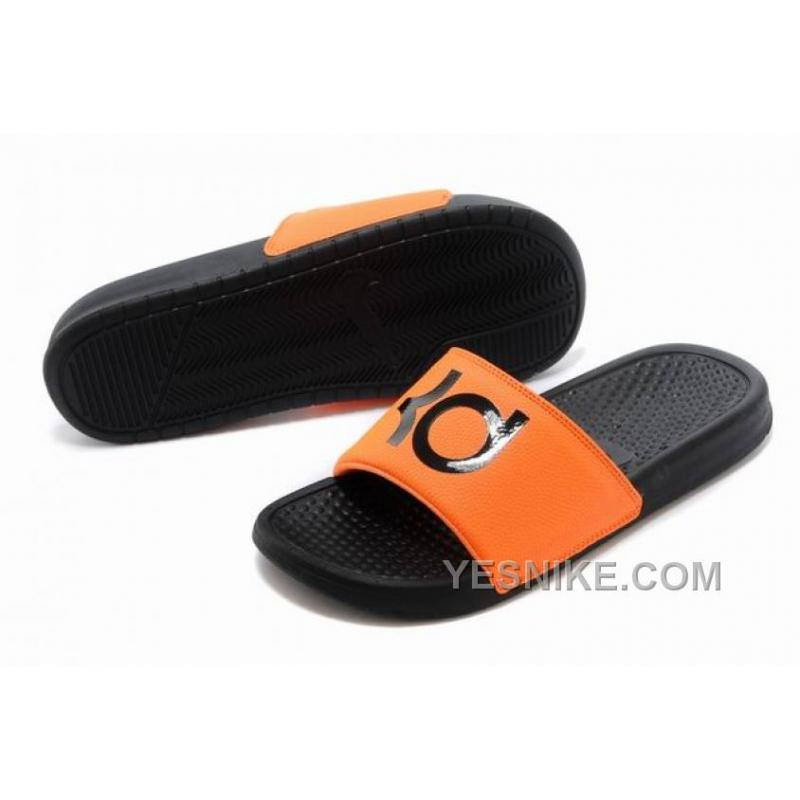 8d509966183fc Big Discount ! 66% OFF! Nike KD Black Orange Slippers For Sale ...