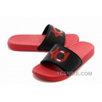 Big Discount ! 66% OFF! Nike KD Red Black Slippers For Sale
