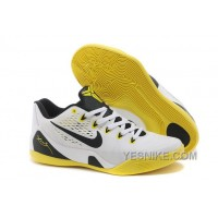 Big Discount ! 66% OFF! Nike Kobe 9 Low EM White Black Yellow Mens Basketball Shoes