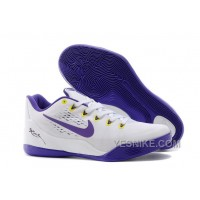 "Big Discount ! 66% OFF! Nike Kobe 9 EM ""Home"" White/Court Purple For Sale"