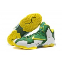 "Big Discount ! 66% OFF! Nike LeBron 11 ""Oregon Ducks"" PE White-Pine Green/Tour Yellow For Sale 309719"