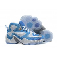 "Big Discount ! 66% OFF! Nike LeBron 13 ""Lake Erie"" White Blue Silver Basketball Shoes 312687"