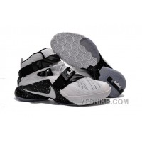Big Discount ! 66% OFF! Nike LeBron Soldier 9 White Black Mens Basketball Shoes