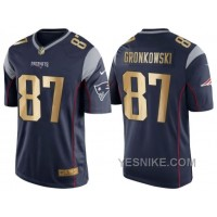 Big Discount ! 66% OFF ! Nike New England Patriots #87 Rob Gronkowski 2016 Christmas Navy Blue Men's NFL Game Golden Edition Jersey