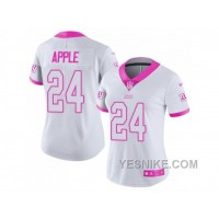 Big Discount ! 66% OFF ! Women's Nike New York Giants #24 Eli Apple White Pink Stitched NFL Limited Rush Fashion Jersey