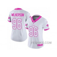 Big Discount ! 66% OFF ! Women's Nike New York Jets #96 Muhammad Wilkerson White Pink Stitched NFL Limited Rush Fashion Jersey
