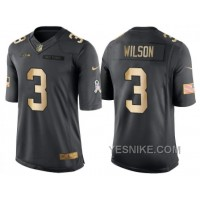 Big Discount ! 66% OFF ! Nike Seattle Seahawks #3 Russell Wilson Anthracite 2016 Christmas Gold Men's NFL Limited Salute To Service Jersey