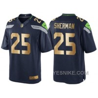 Big Discount ! 66% OFF ! Nike Seattle Seahawks #25 Richard Sherman 2016 Christmas Navy Golden Men's NFL Game Special Edition Jersey