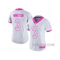 Big Discount ! 66% OFF ! Women's Nike Tampa Bay Buccaneers #3 Jameis Winston White Pink Stitched NFL Limited Rush Fashion Jersey