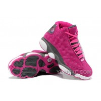 Big Discount! 66% OFF! Girls Air Jordan 13 Retro Suede Pink Gray For Sale