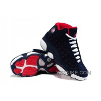 Big Discount! 66% OFF! Girls Air Jordan 13 Retro Suede Dark Blue/Red-White For Sale