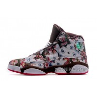 Big Discount! 66% OFF! New Released Girls Air JD 13 GS Floral White Brown Red Discount Sale AhEst