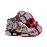 Big Discount! 66% OFF! Women NK Air JD 13 Custom Floral Coffee CJ7Kn