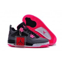 Big Discount! 66% OFF! 2015 Air Jordan 4 GS Black Grey Hyper Pink For Sale