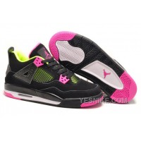 Big Discount! 66% OFF! Girls Air Jordan 4 Retro Black Suede Light Green Pink For Sale
