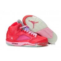 Big Discount! 66% OFF! Women NK Air JD 5 Retro Red/Pink EcCs7