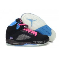 Big Discount! 66% OFF! Women NK Air JD 5 Retro Suede Leather Black/Pink/Blue YCYSG