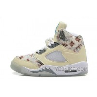 Big Discount! 66% OFF! Womens Air JD 5 Retro GS Beige White Flower For Sale AtGQk