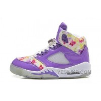Big Discount! 66% OFF! Womens Air JD 5 Retro GS Purple White Flower For Sale KPTjA