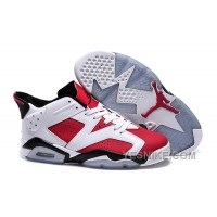 "Big Discount! 66% OFF! 2015 Air Jordan 6 Low GS ""Carmine"" White/Carmine-Black Cheap For Sale"