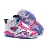 "Big Discount! 66% OFF! Air Jordan 6 (VI) Retro GS ""Floral Print"" Pink White Girls Size For Sale"
