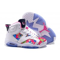 "Big Discount! 66% OFF! Air Jordan 6 (VI) Retro GS ""Floral Print"" White Pink Girls Size On Sale"
