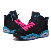 "Big Discount! 66% OFF! Girls New Air Jordan 6 (VI) Retro ""South Beach"" Black/Dynamic Blue-White-Vivid Pink"