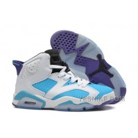 Big Discount! 66% OFF! Girls New Air Jordan 6 (VI) Retro GS White Blue Purple For Sale Online