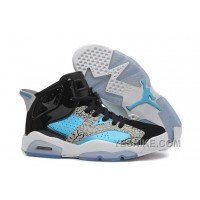 "Big Discount! 66% OFF! Girls New Air Jordan 6 (VI) Retro GS ""Leopard Print"" Black Blue White For Sale"
