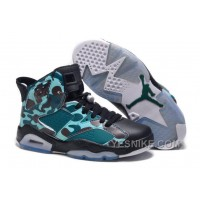"Big Discount! 66% OFF! Girls New Air Jordan 6 (VI) Retro GS ""Camo"" Black Teal For Sale Online"