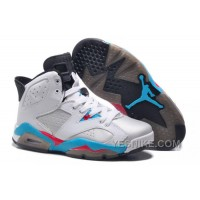 Big Discount! 66% OFF! Girls New Air Jordan 6 (VI) Retro GS White Blue Red For Sale