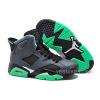 Big Discount! 66% OFF! Girls Cheap Air Jordan 6 (VI) Retro GS Black/Jade Green For Sale