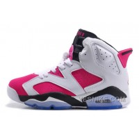 Big Discount! 66% OFF! Air JD 6 Retro GS White-Black/Bright Pink On Sale For Cheap W65ek