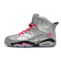 Big Discount! 66% OFF! Girls Air JD 6 Retro GS Valentine's Day Metallic Silver/Vivid Pink-Black Sale PhACm