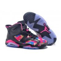Big Discount! 66% OFF! Womens Air JD 6 GS Floral Custom Black/Pink For Sale In Girls Size 7t5S8