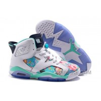 Big Discount! 66% OFF! Womens Air JD 6 GS Floral Custom White/Turquoise For Sale In Girls Size 2NF4Y