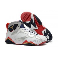 Big Discount! 66% OFF! Air JD 7 Retro GS Olympic White/Metallic Gold-Midnight Navy/True Red 84G2X