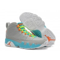 Big Discount! 66% OFF! Girls Nike Air Jordan 9 Retro GS Wolf Grey/Neon Orange-Mint Candy For Sale CZ5sC