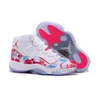"Big Discount! 66% OFF! Girls Air Jordan 11 GS ""Floral Flower"" White Pink Cheap For Sale"