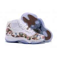 "Big Discount! 66% OFF! Girls Air Jordan 11 GS ""Floral Flower"" White Brown Womens Cheap Sale"
