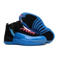 Big Discount! 66% OFF! Girls Air Jordan 12 GS Black Blue Pink For Womens Onlline For Sale