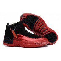 Big Discount! 66% OFF! Girls Air Jordan 12 GS Black Red For Womens Cheap For Sale